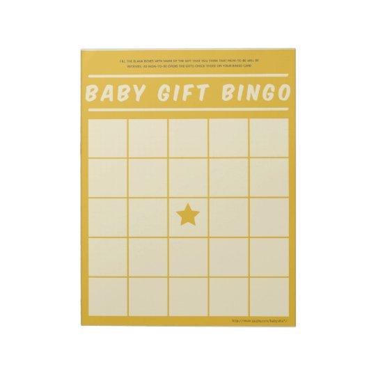 Baby Gift Bingo Baby Shower Game Yellow Notepad