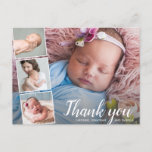 """Baby Gift Shower Thank You 4 Photo Collage Postcard<br><div class=""""desc"""">Say thank you in style with this postcard featuring 4 of your favorite baby photos accented with a chic hand-lettered looking script font that reads """"Thank you"""" or change to your custom text. Add your names or custom text to the front and type in your custom thank you note on...</div>"""