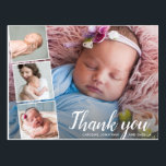 "Baby Gift Shower Thank You 4 Photo Collage Postcard<br><div class=""desc"">Say thank you in style with this postcard featuring 4 of your favorite baby photos accented with a chic hand-lettered looking script font that reads ""Thank you"" or change to your custom text. Add your names or custom text to the front and type in your custom thank you note on...</div>"