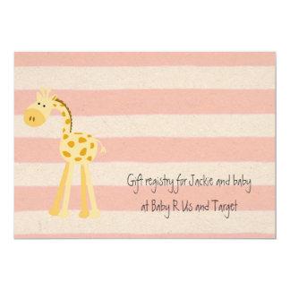 Baby Gir Shower Invitation | Giraffe Pink Stripe