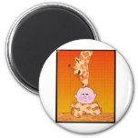Baby & Giraffe 2 Inch Round Magnet