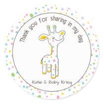 Baby Giraffe Baby Shower Favor Sticker {Neutral}