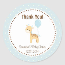 Baby Giraffe Baby Shower Sticker Blue