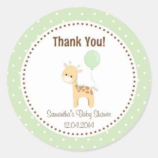 Baby Giraffe Baby Shower Sticker Green