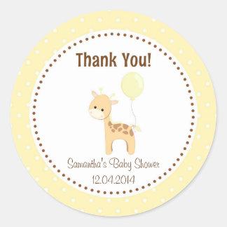 Baby Giraffe Baby Shower Sticker Yellow