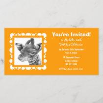 Baby Giraffe Birthday Invitation Photo Card