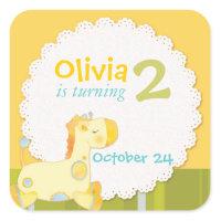 Baby Giraffe Birthday Party Invitation Stickers sticker