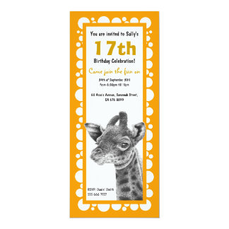 Baby Giraffe Birthday Retro Circles Invitation