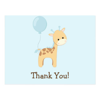 Baby Giraffe, Blue, Jungle Animal Thank You Postcard