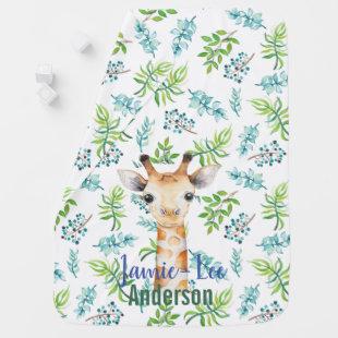 Baby GIRAFFE Blue Mint Flowers Named Swaddle Baby Blanket