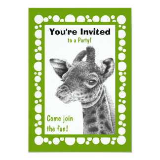 Baby Giraffe Circles Invitation