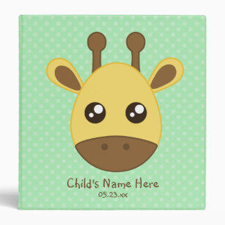 Baby Giraffe Face 3 Ring Binder