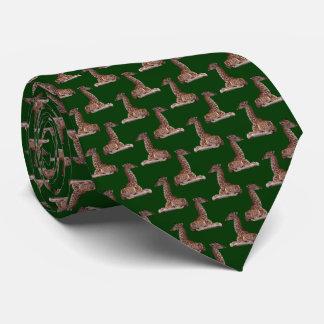 Baby Giraffe Frenzy Tie Double Sided (Dark Green)