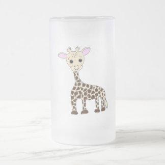 Baby Giraffe Frosted Glass Beer Mug