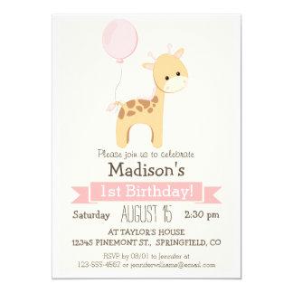 Baby Giraffe Girl's Birthday Party Invitation