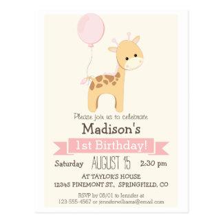 Baby Giraffe Girl's Birthday Party Invitation Postcard