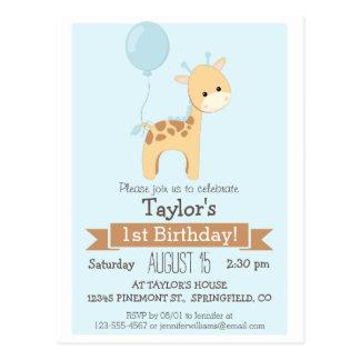 Baby Giraffe Kid's Birthday Party Invitation Postcard