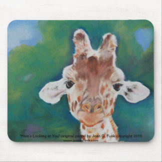 Baby Giraffe looking at you Mouse Pad