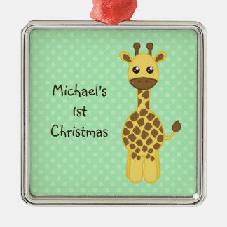 Baby Giraffe Metal Ornament