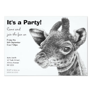 Baby Giraffe Party Invitation