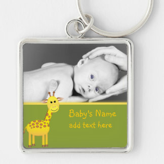 Baby Giraffe/Photo Silver-Colored Square Keychain
