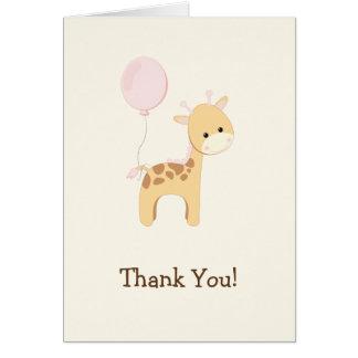 Baby Giraffe, Pink, Jungle Animal Thank You Card