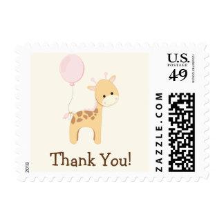 Baby Giraffe, Pink, Jungle Animal Thank You Postage
