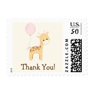 Baby Giraffe, Pink, Jungle Animal Thank You Postage
