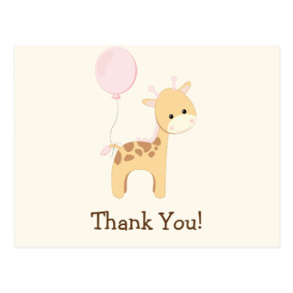 Baby Giraffe, Pink, Jungle Animal Thank You Postcard