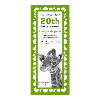 Baby Giraffe Retro Circles Birthday Invitation