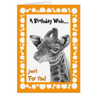 Baby Giraffe Retro Circles Greeting Card