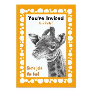 Baby Giraffe Retro Circles Invitation