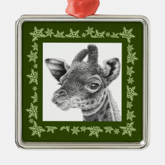 Baby Giraffe Snowflake Christmas Ornament