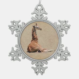 BABY GIRAFFE SNOWFLAKE PEWTER CHRISTMAS ORNAMENT
