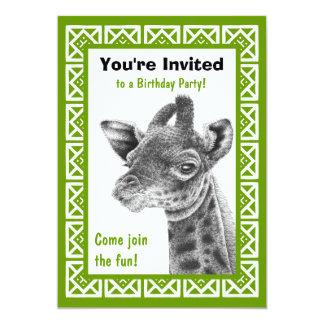 Baby Giraffe Square Pattern Birthday Invitation