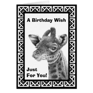 Baby Giraffe Square Pattern Greeting Card