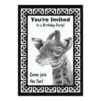 Baby Giraffe Square Pattern Invitation