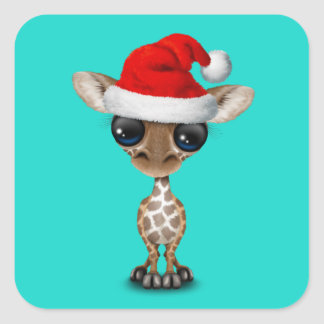 Baby Giraffe Wearing a Santa Hat Square Sticker