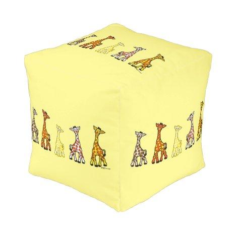 Baby Giraffes In A Row Pouf