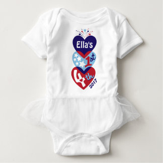 Baby Girl 1st 4th Bodysuit First 4th of July Shirt