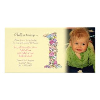 Baby Girl 1st Birthday Party Invite Photo Card