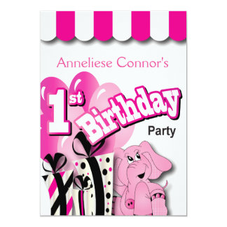 Baby Girl 1st Birthday Party | Pink Elephant Card