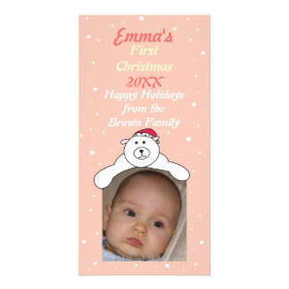 Baby Girl 1st Christmas Cute Polar Bear Photo Card