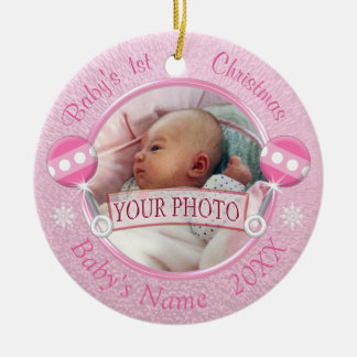 Baby Girl 1st Christmas Ornament YOUR PHOTO 2 TEXT