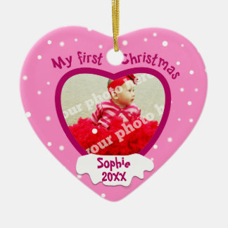 Baby Girl 1st Christmas Pink Photo Heart Ornament
