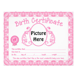 Baby birth letterhead zazzle baby girl add picture birth certificate letterhead yadclub Images