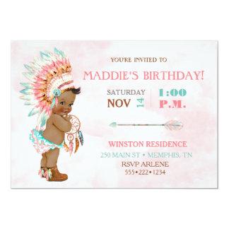 Baby Girl African American Tribal Headdress Blush Card
