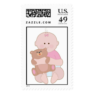 Baby Girl and Teddy Stamps