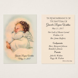 Baby Girl Angel Baptismal Remembrance Holy Card
