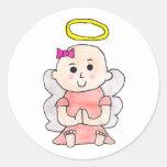 Baby Girl Angel Classic Round Sticker